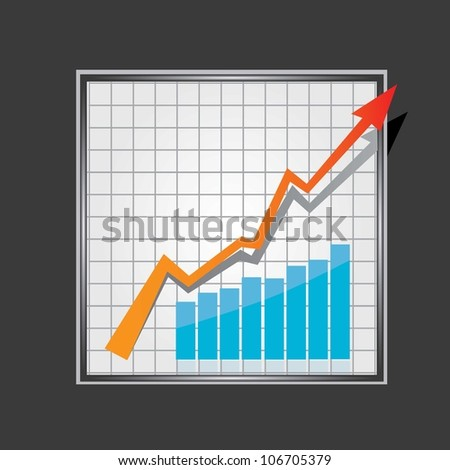 vector business graph with arrow showing profits and gains. vector business background