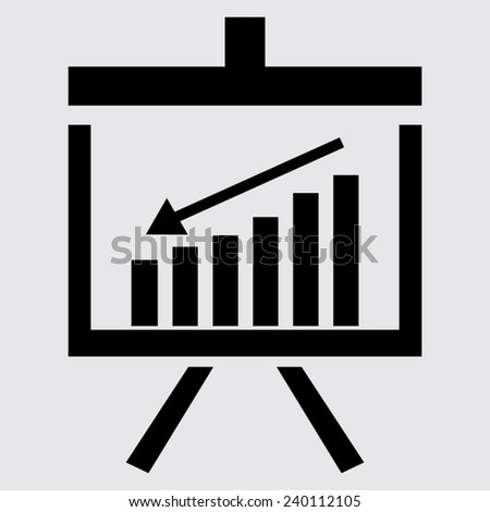 Vector Business Growing Chart Presentation Icon on a grey background