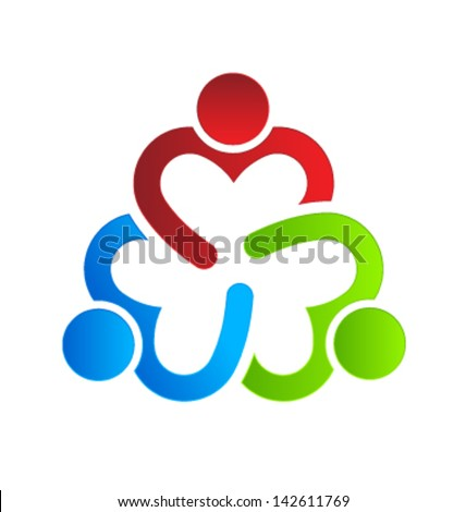 Vector Business icon design. Heart sharing 3. Group of People - stock vector