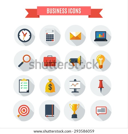 Vector  business  icons collection in flat style. - stock vector