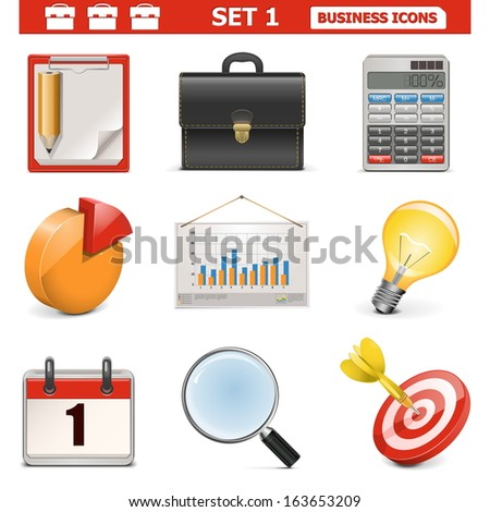 Vector Business Icons Set 1 - stock vector