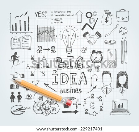 Vector business idea doodles with charts and diagrams and pencil - stock vector