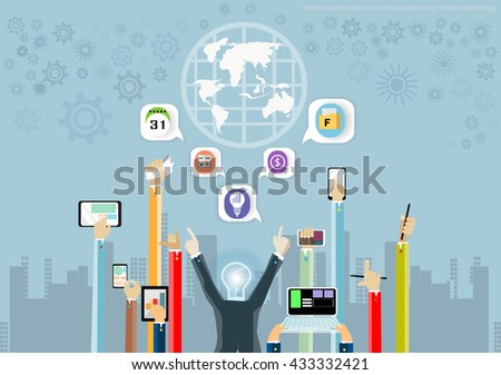 Vector business ideas to communicate using modern technology with mobile, tablet, Notebook task, leveraging, world maps, icons and flat design - stock vector