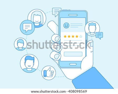 Vector business illustration in trendy linear style and blue colors related to customer service and client experience - app on the screen - social network exposure and reputation management - stock vector