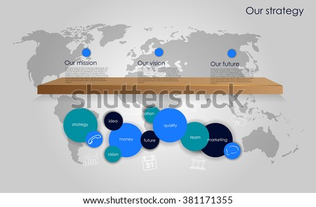 Vector business infographic with circle bubbles and flat line sacred geometry / mission, vision, future and strategy motive or theme on dark background