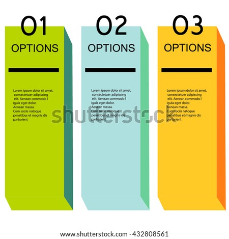Vector business infographics. Minimal colorful numbered banners for diagram, graph, report, presentation, chart, web design. 3 options, stages, 3d