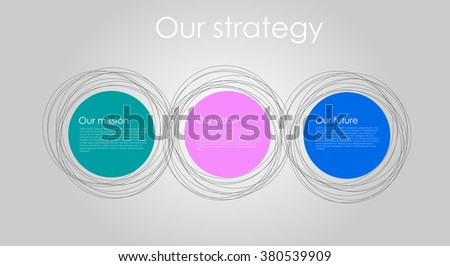 Vector business infographics with circle bubbles / mission, vision, future and strategy motive or theme on dark background