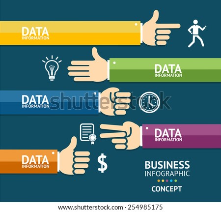 Vector business infographics with hands can be used for presentations, workflow layout, number options. Flat Design - stock vector
