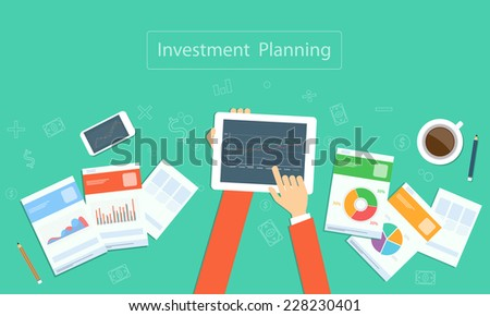 Vector business investment planning on device technology - stock vector