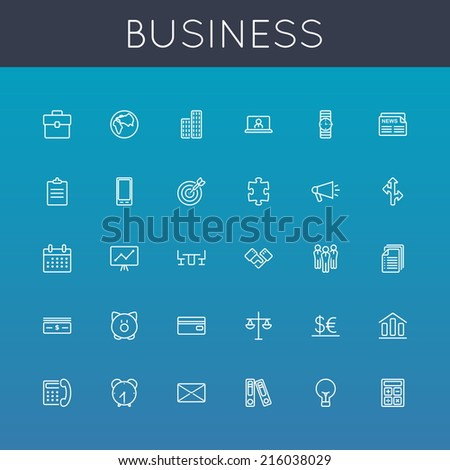 Vector Business Line Icons - stock vector