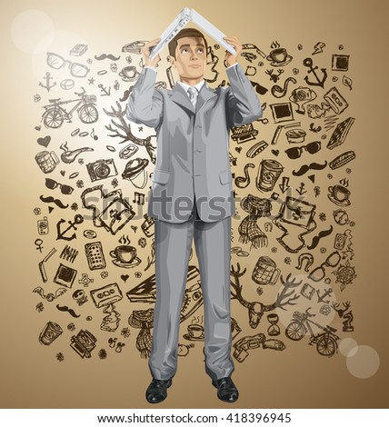 Vector business man hides under the laptop in his hands - stock vector