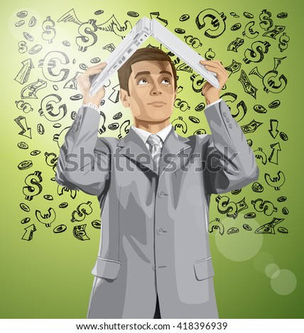 Vector business man hides under the laptop in his hands against money sketch - stock vector