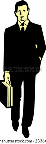 Vector business man in suit with bag - stock vector