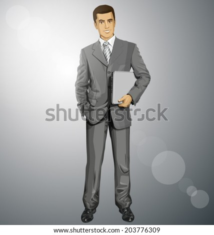Vector business man in suit with laptop in his hands - stock vector