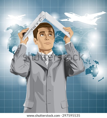 Vector business man travel, hides under the laptop in his hands - stock vector