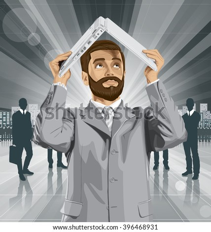 Vector business man with beard hides under the laptop in his hands - stock vector
