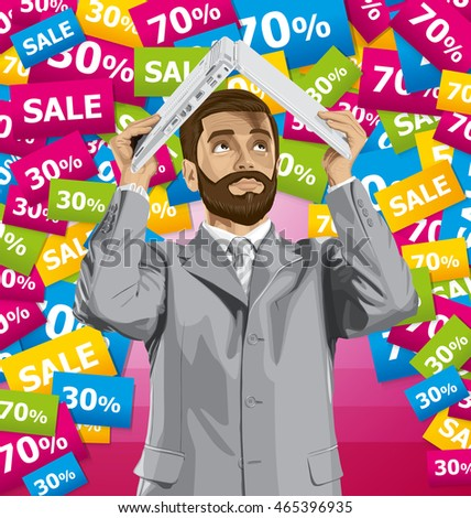 Vector business man with beard on sale hides under the laptop in his hands
