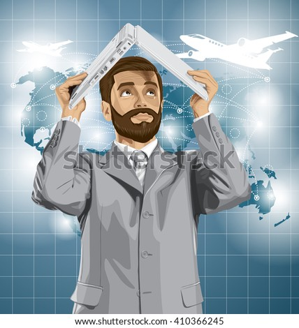 Vector business man with beard travel, hides under the laptop in his hands - stock vector