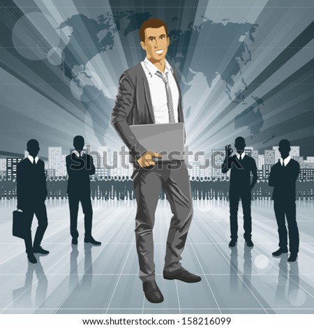 Vector business man with laptop in his hands. All layers well organized and easy to edit - stock vector