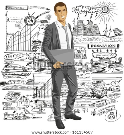 Vector business man with laptop in his hands. All layers well organized and easy to edit