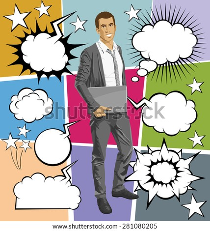 Vector business man with laptop in his hands, with speech and thought bubbles - stock vector