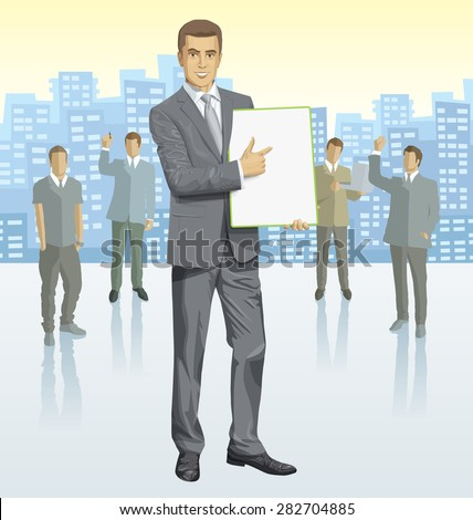 Vector business man with silhouettes of business people, with transparency shadows and city - stock vector