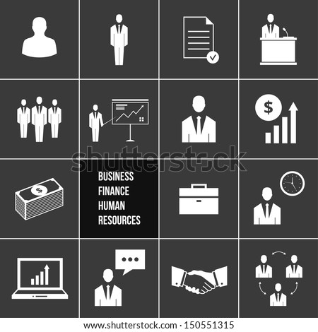 Vector Business Management and Human Resources Icons Set - stock vector