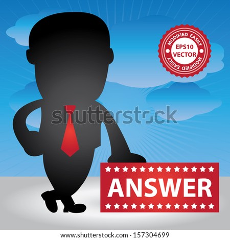 Vector : Business Management or Business Solution Concept Present By Businessman Hand On Answer Banner in Blue Sky Background  - stock vector