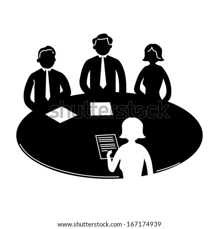 vector business meeting icon with pictograms of people around table | flat design infographics template black on white background - stock vector