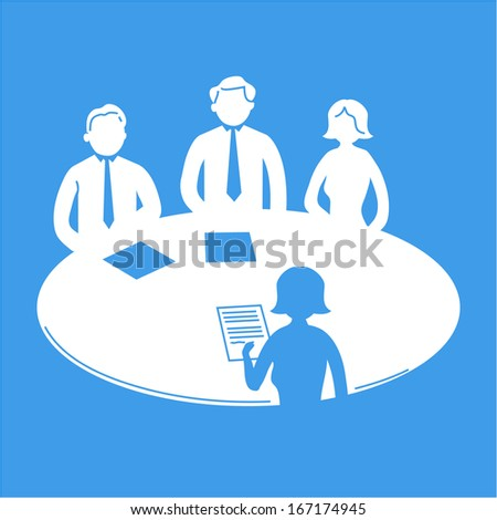 vector business meeting icon with pictograms of people around table | flat design infographics template white on blue background - stock vector