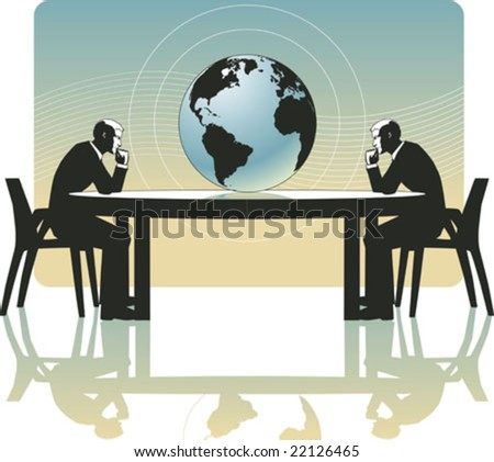 Vector business men deeply in thought, observing an earth globe on a conference business table - stock vector
