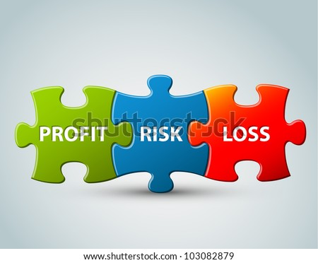 Vector business model - profit, risk and loss - stock vector