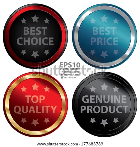 Vector : Business or Marketing Material For Promotional Sale or Marketing Campaign Present By Colorful Glossy Style Best Choice, Best Price, Top Quality, Genuine Product Icon, Badge, Label or Sticker  - stock vector