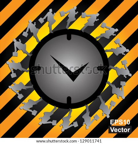 Vector : Business Or Time Management Concept Present By The Businessman Running Around The Clock in Caution Zone Dark and Yellow Background - stock vector
