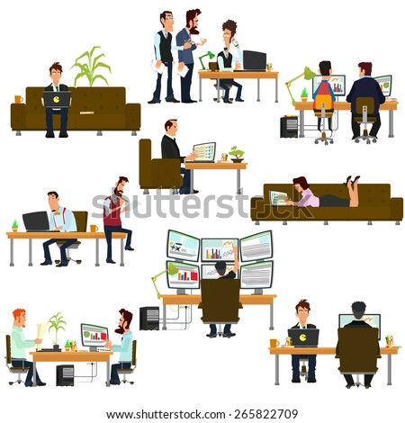 Vector business people in flat style. isolated icon of people working on the computer. people work in different places. - stock vector