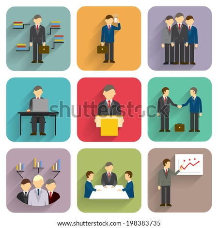 Vector business people in flat style. Meeting, conference and presentation icons - stock vector