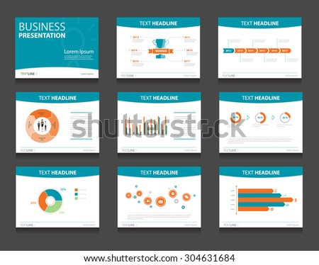 Vector Business Presentation Slides Template Graphs Stock Vector