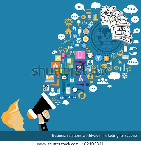 Vector Business relations worldwide marketing for success - stock vector