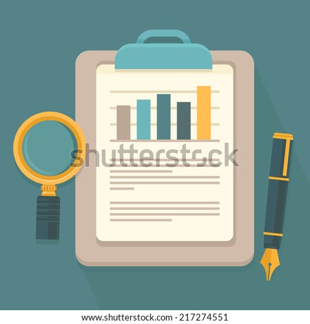 Vector business report in flat style - paper document and magnifier - stock vector