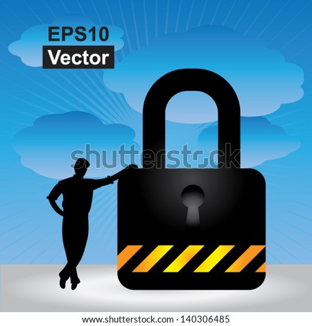 Vector : Business Security, Network Security or Computer Security Concept Present By A Businessman Leaning Against The Key Lock in Blue Sky Background - stock vector
