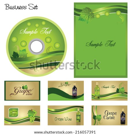 vector business set with grapes,illustration of cards and letterhead and compact disc cover with grapes,vector illustration of greeting cards with grape,cards with wine bottles - stock vector