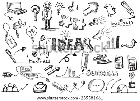 vector business sketch icons - stock vector