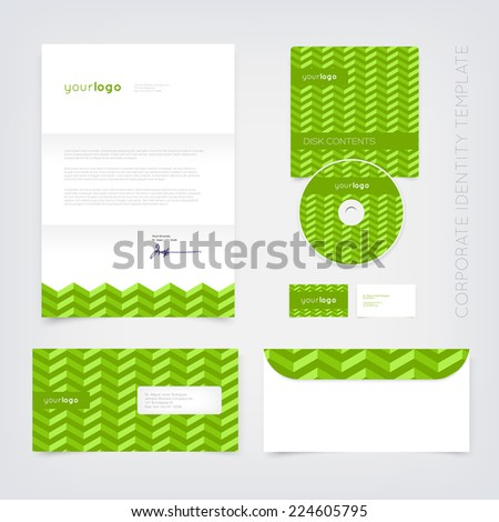 Vector business stationary design template with green retro chevron pattern. Letter, envelope, cd and business cards. Modern branding collection. - stock vector