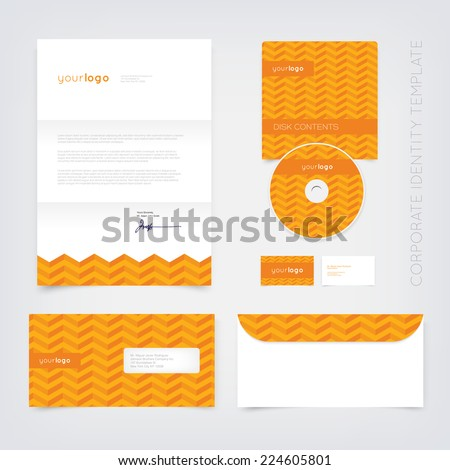 Vector business stationary design template with orange retro chevron pattern. Letter, envelope, cd and business cards. Modern branding collection. - stock vector