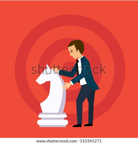 Vector business strategy concept in flat style,  businessman holding chess figure, planning and management - stock vector