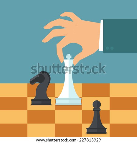 Vector business strategy concept in flat style - male hand holding chess figure - planning and management - stock vector