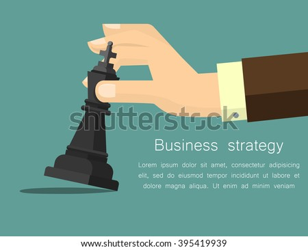 Vector business strategy concept in flat style, male hand holding chess figure - planning and management - stock vector