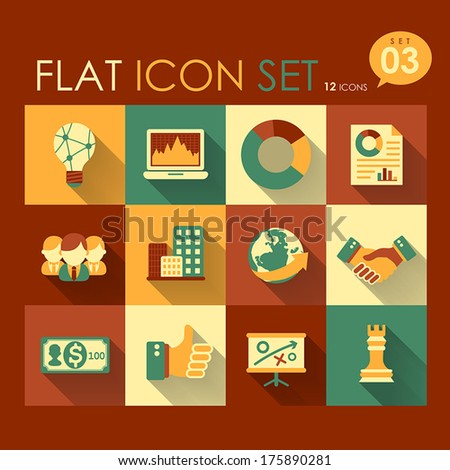 vector business strategy icon set flat design - stock vector