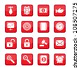 Vector business strategy icons set. All elements are grouped. - stock vector