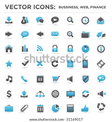 vector business web finance icons 02 - stock vector